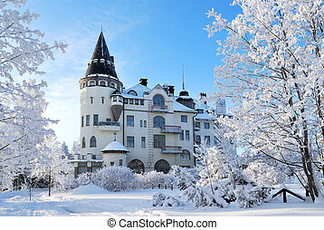 Imatra, Finland, in winter - Architecture of northern modern...