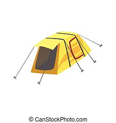 Small Yellow Bright Color Tarpaulin Tent. Simple Childish...