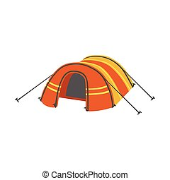 Arched Orange Bright Color Tarpaulin Tent. Simple Childish...