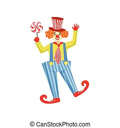 Colorful Friendly Clown With Lollypop In Classic Outfit...