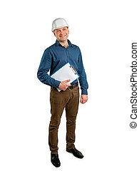 civil engineer holding a folder - Construction Supervisor...