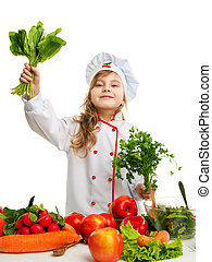 child in the kitchen preparing a meal - Child 5-6 years...
