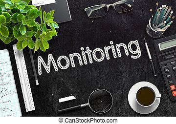 Monitoring on Black Chalkboard. 3D Rendering. - Black...