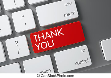 Keyboard with Red Keypad - Thank You. 3D. - Thank You...