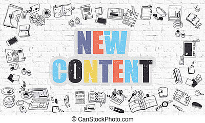 New Content in Multicolor. Doodle Design. - New Content. New...