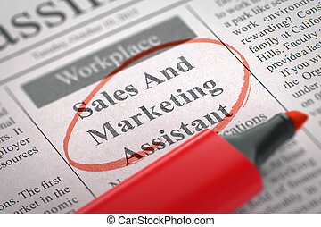 Sales And Marketing Assistant Hiring Now. 3D.
