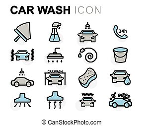 Vector flat line car wash icons set on white background