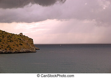 Cape Palinuro, Italy - Dark clouds over the Cape palinuro,...