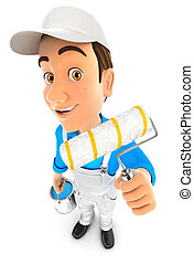 3d painter holding paint roller, illustration with isolated...