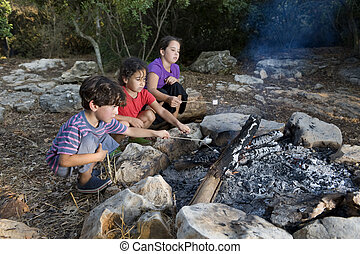 kids at campfire - Three kids roasting marshmallows at a...