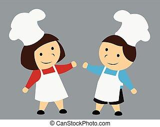 cozinheiro, crianças, caricatura