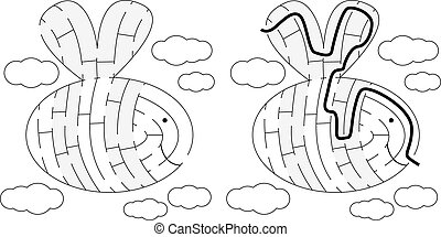 Easy bee maze for younger kids with a solution in black and...