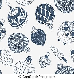 Seamless pattern with  Christmas ornaments