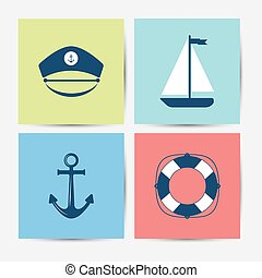 Marine symbols and icons. Vector illustration.