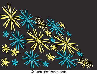 Yellow and blue floral background