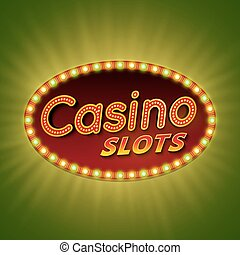 Casino slots. 3d retro light banner with shining bulbs. Red sign with green and yellow lights on dark background. Casino street signboard. Advertising frame with glow. Vintage vector illustration