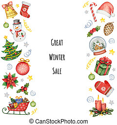 Hand painted watercolor background with elements for Christmas sale.