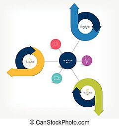 Connected circle speech diagram. vector. Infographic.