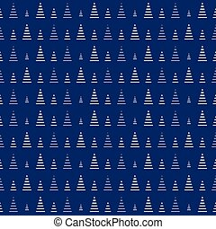 Christmas tree repeat pattern. Blue. Vector background.