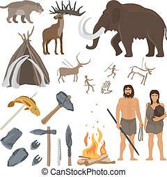 Stone age icons set - Stone age vector isolated on white...