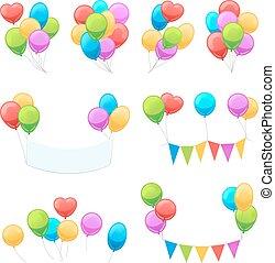 Cartoon balloon set. Vector glossy balloons isolated on...