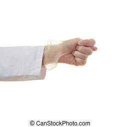 Doctor female hand over white isolated background - Doctor...
