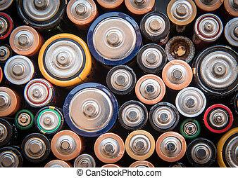 utilizado, disponible, baterías, para, reciclaje