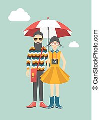 Couple. Hipster young man and woman. Illustrated vector.