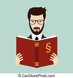 Advocate, lawyer reading a law book. Flat vector. Isolated...