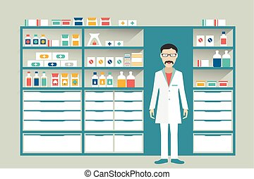 Man pharmacist in a pharmacy, drugstore. Shelves with medicines, cure, pills. Flat vector.