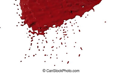 Red paint dripping down over screen in slow motion. Colored liquid