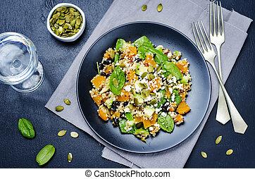 pumpkin quinoa black beans spinach Feta salad with pumpkin...