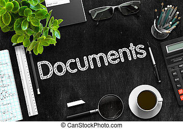 Black Chalkboard with Documents. 3D Rendering. - Documents -...