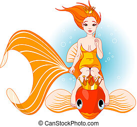 Mermaid riding on a golden fish - Pretty princess mermaid...