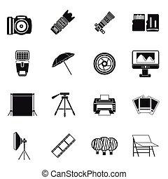 Photo studio icons set, simple style - Photo studio icons...