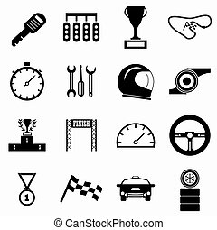 Race icons set, simple style