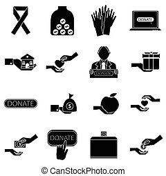 Charity icons set, simple style - Charity icons set. Simple...