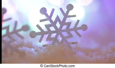 Christmas background with snowflakes and large toy.