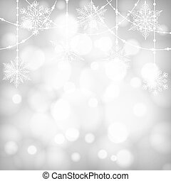 Christmas shiny card with snowflakes and bokeh.