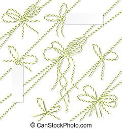 Bakers twine bows, ribbons and labels - Set of green rope...