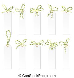 Label set with bakers twine bows - Set of tag labels with...