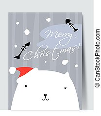 Pretty white cat. Simple vector drawing.