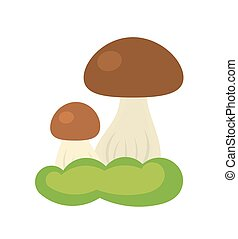 Forest mushroom growing in moss. Vector illustration