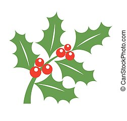 Holly berry Christmas symbol - Holly berry branch -...