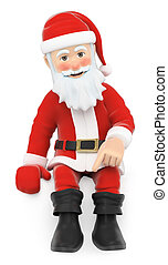 3D Santa Claus Santa sitting pointing down with the finger