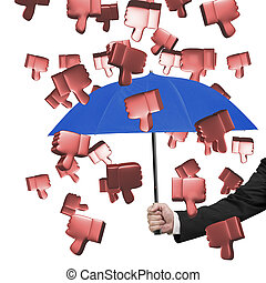 Hand holding umbrella to prevent 3D thumbs down - Hand...