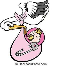 gólya, átadó, csecsemő, leány