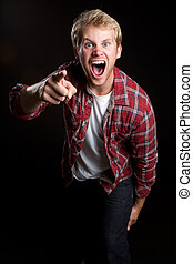 Yelling Pointing Man - Angry yelling pointing young man
