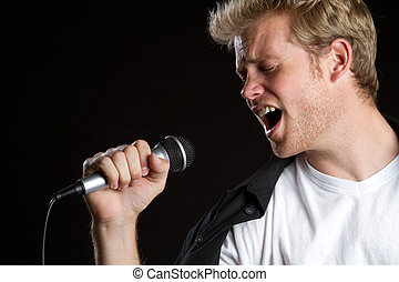 Karaoke Singer Man - Man singer singing karaoke