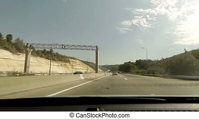 Driving on a highway in Israel